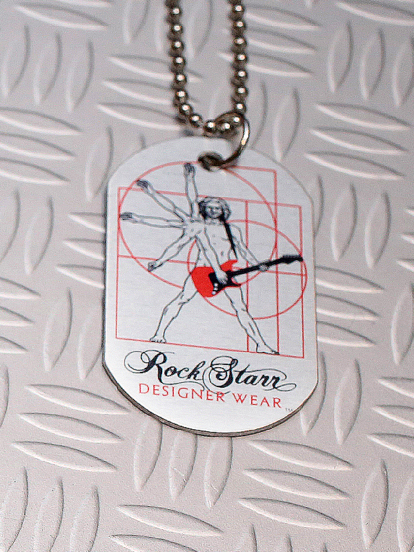 RockStarr Designer Wear DaVinci Guitar Dog Tags