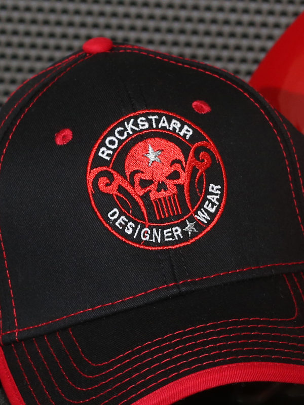 RoskStarr Designer Wear Black Hat with Red Skull Logo
