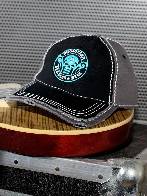 RoskStarr Designer Wear Black with Aqua Skull Hat